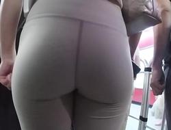 Asian teen cute ass in tight yoga shorts