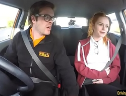 Redhead teen Ella gets boned by her driving instructor