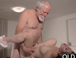Teen Interrupts Grandpa distance from Yoga And Sucks his Cock wet and hard