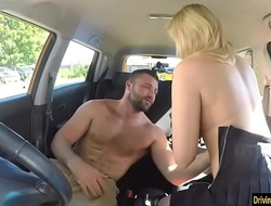 Prurient examiner Katy Jayne gets twat screwed in the car