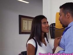 Latina teen babe rides cock at guys office