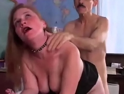Granny teacher fucking doggystyle pounded in the desktop