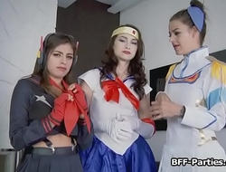 Slutty cosplay besties competing for cock on POV foursome