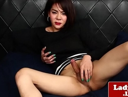 Busty asian tgirl to round booty solo play