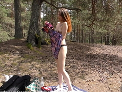 beautiful european teen playing naked in forest