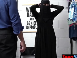 Busty teen thief Delilah Day in hijab punish fucked by a perv LP officer