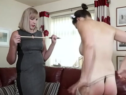 The sexy maid is caning