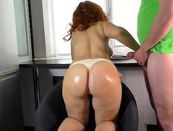 Mom in thong gave a blowjob and got a cock in the ass from stepson