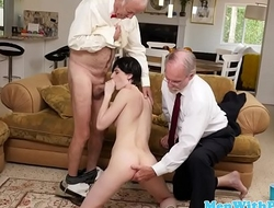 Young babe sucks oldmans cock before riding