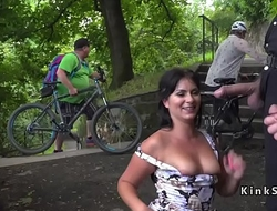 Brunette sucking dicks adjacent to public