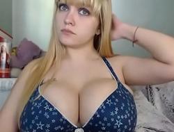 Super big boobs blonde girl
