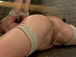 Hogtied blonde caned and toyed