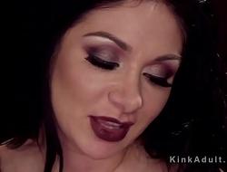 Huge tits lesbian in latex ass fingered