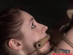 BDSM sub hogtied and toyed using vibrator