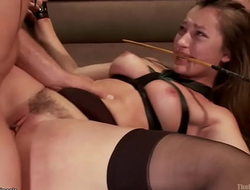 Slaves whipped and fucked at orgy party