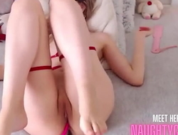 teenshows careful feet and fucks her big dildos