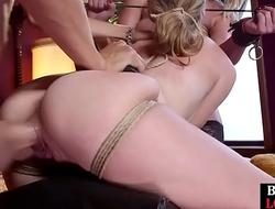 Bondage sub zapped while riding masters cock