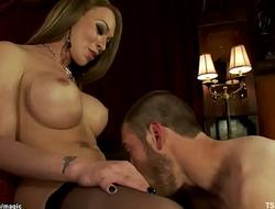 Big tits shemale shoves big cock in man