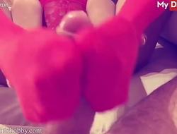 (Luna Corazon) Wears Her Red Lingerie Rubs Her Bfs Thick Cock In Between Her Sexy Soles - MyDirtyHobby