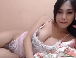 Cute asian ladyboy balls out