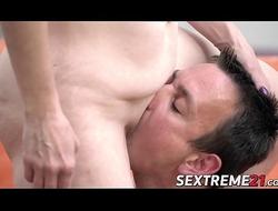 Elderly pamper Alice Sharp fed cum after bouncing on dick