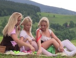 Nice first lesbian experience between three teen girls having tons of entertainment together outdoor at picnic, licking pussies, using sex toys, moaning from pleasure