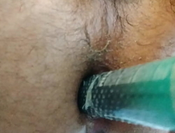 Indian Hairy ass self fuck with homemade dildo loud moaning