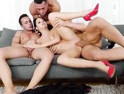 Smoking Italian babe takes on three rock hard cocks