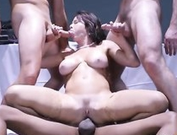 Brunette knockout Veronica Avluv is fucking three horny guys