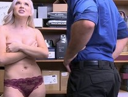 Naughty blonde girl with chunky natural tits forced to fuck in the office