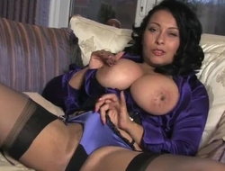 Lusty housewife in stockings plays with her dripping wet pussy