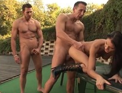 Horny dark-haired bitch gets gangbanged by the pool