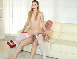 Superannuated man uses his socking sex experience to satisfy a fresh and very hungry hottie. He gives her a middle of anal pleasures on the couch.