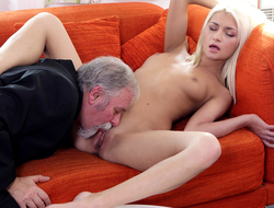 Luckily for Tanya, her old goes young boss was not just about his own sexual satisfaction and fulfillment. He also knew how to lick a pussy.
