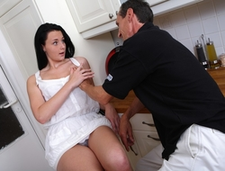 It's all about showing them how it's done, and this older guy is matchless happy to help this young babe get to grips with as many sexual positions as possible. He fucking loves it!