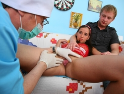Stella agreed to fuck with her new boyfriend but she didn't know that there would fright a perverted doctor with them.