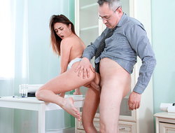 Long-legged brunette comes for a very special private lesson which ends with a hard fuck