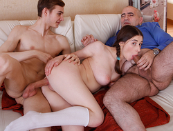 Playful babe prefers to fool around with her sex-hungry old teacher instead of studying hard. She believes that her time is too valuable to waste it in classes.