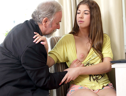 Rita's teacher is one horny old man, so she lets him lick her shaven pussy painless long painless he passes her in his class. She likes being totally naked painless she closes her eyes and enjoys the old guy's skills!