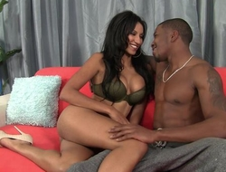Dark-skinned damsel with bubbly tits enjoys crucial pussy pounding