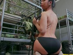 Two gorgeous army babes fucking with strap-on dildo