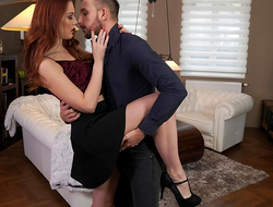 Lovely and lusty Charlie Red dances with her date before heading to the bedroom to enjoy a bald pussy stiffie ride