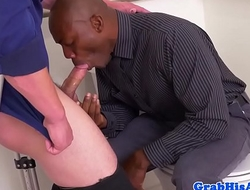 Office boss anal fucks employee in toilets