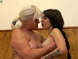Old granny seducing a young girl in give access to