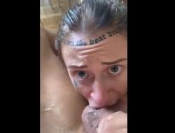Tattoo amateur sloppy gagging and deepthroat blowjob