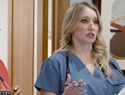 Girlsway Hot Greenhorn Nurse With Obese Knockers Has A Wet Pussy Formation With Her Superior