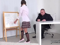 Sweet college girl was tempted and poked by her elderly instructor