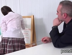 Fervid schoolgirl gets tempted and nailed by her elder teacher