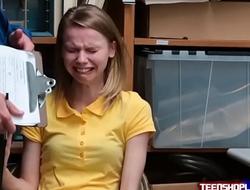 Poor skinny teen Catarina Petrova thief devote oneself to crashing