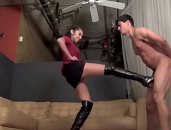 Girl kick guy balls